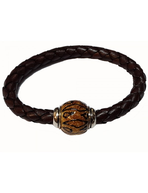Braided brown aniline bovine leather bracelet, yellow glittery enamelled steel bead - 18 cm 314191M18 Baci Belli 69,90 €