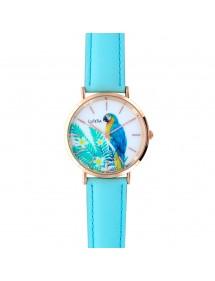 Montre Lutetia boîtier métal doré rose, cadran motif perroquet et bracelet synthétique bleu ciel 750139 Lutetia 59,90€