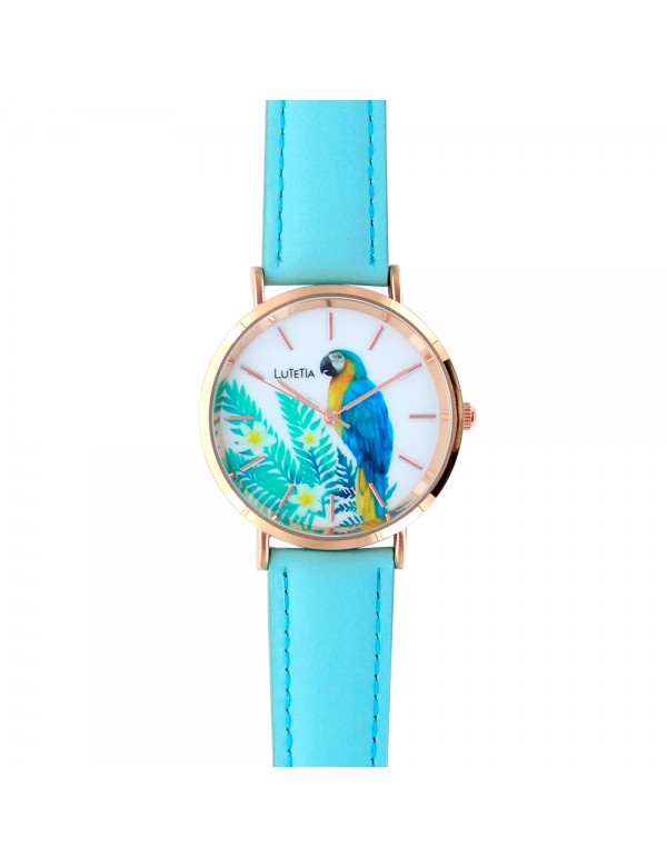 Lutetia watch, rose gold-tone metal case, parrot dial and sky blue strap 750139 Lutetia 59,90 €