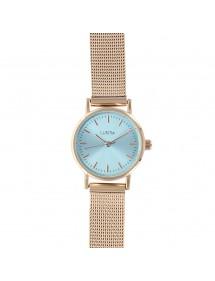 Montre Lutetia à bracelet milanais doré rose, cadran couleur bleu ciel 750145DRT Lutetia 59,90€