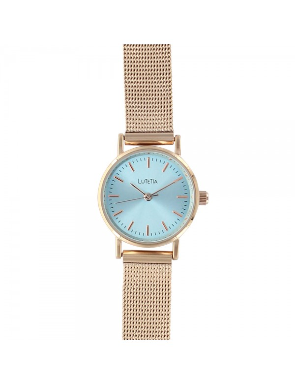 Lutetia watch with pink gold Milanese strap, sky blue dial 750145DRT Lutetia 59,90€