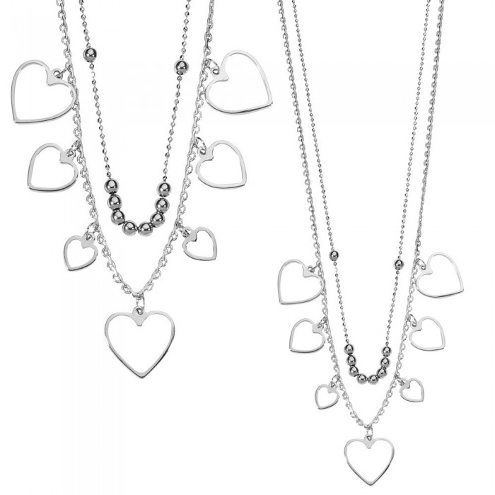 Heart cascade necklace in rhodium silver 49,90 € 32,90 €