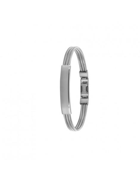 Bracelet en acier et câble avec plaque brillante à graver 31812297 One Man Show 29,90€