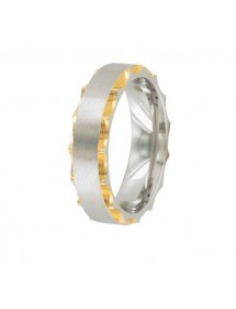 Ring in stainless steel and golden steel with chiseled sides 311421D One Man Show 29,90 €