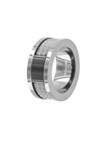 Chiseled ring made of gun and onyx steel 311423 One Man Show 56,00 €