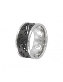 Steel ring and shiny black streaks 311427 One Man Show 42,00 €