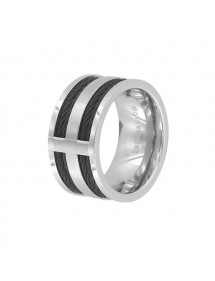 Wide steel ring and black cable 311468 One Man Show 39,90 €