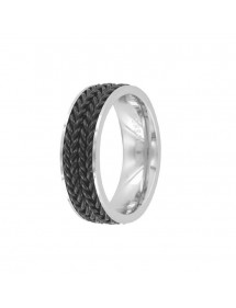 Steel ring with black chain patterns in the middle 311493 One Man Show 45,00 €