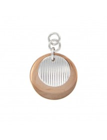Round rose gold and striated steel pendant 31610289 One Man Show 18,00 €