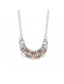 Necklace rings intertwined steel and round in mesh silver / golden pink 31710219 One Man Show 79,90 €