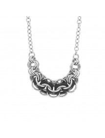 Necklace rings intertwined steel and round in mesh silver and black 31710219N One Man Show 79,90 €