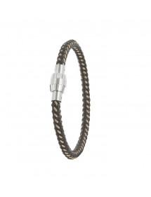 Bracelet en cuir d'équin tressé avec fermoir vissé aimanté en acier 31812306 One Man Show 47,90€