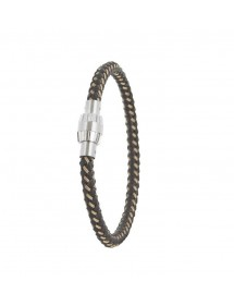Bracelet equine braided leather with screw clasp magnetized steel 31812306 One Man Show 47,90€