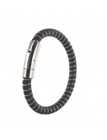 Steel bracelet, black nubuck bovine leather and pigmented finish 3181038 One Man Show 29,90 €