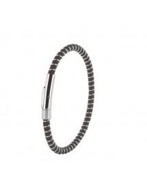 Bracelet en cuir de bovin nubuck finition pigmentée et acier 3181035 One Man Show 35,00€