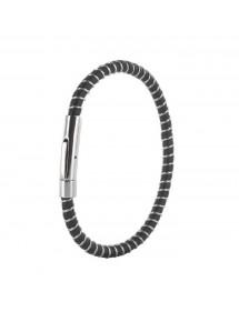 Bracelet en cuir noir de bovin nubuck finition pigmentée et acier 3181039 One Man Show 35,00€
