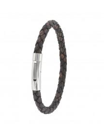 Bracelet tressé en cuir de bovin avec fermoir aimanté en acier 3181085 One Man Show 20,90€