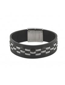 Black ovine leather and steel bracelet 19 x 2.2 cm 31812298 One Man Show 49,90€