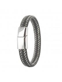 Bracelet tressé en cuir de bovin noir et acier avec fermoir acier 31812315 One Man Show 44,90€