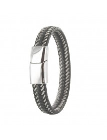 Braided bracelet in black bovine leather and steel with steel clasp 31812315 One Man Show 44,90 €