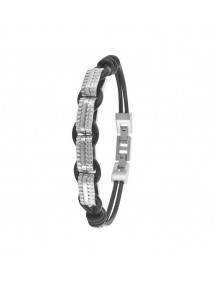 Bracelet plaques acier attachées à un cordon en cuir d'équin 31812312 One Man Show 53,00€