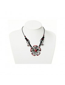 Flowers necklace in black metal and red rhinestones 38790 Paris Fashion 19,90 €