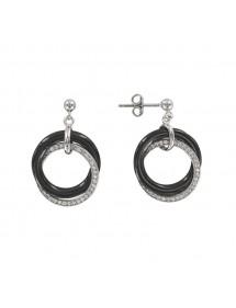 Boucles d'oreilles céramique Noir sur Blanc