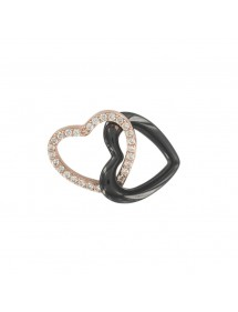 Intertwined hearts pendant in gilded silver and ceramic 31610122 Noir sur Blanc 49,90 €