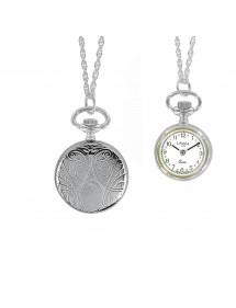 Montre pendentif argenté 2 aiguilles et motif médaillon 89,00€ 89,00€
