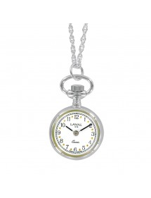 Silver pendant watch with 2...