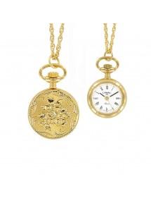 Montre pendentif doré à chiffres romains et motif 2 fleurs 99,00€ 99,00€