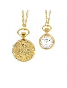 Montre pendentif doré 2 aiguilles et motif 3 fleurs 99,00€ 99,00€