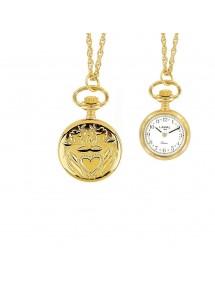 Montre pendentif doré à chiffres arabes 2 aiguilles et motif cœur 750325 Laval 1878 99,00€