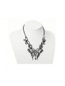 White butterfly necklace metal and rhinestones  38796 Paris Fashion 19,90€
