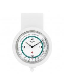 Reloj de enfermería con clip blanco y verde Laval 1878. 750349 Laval 1878 59,90€