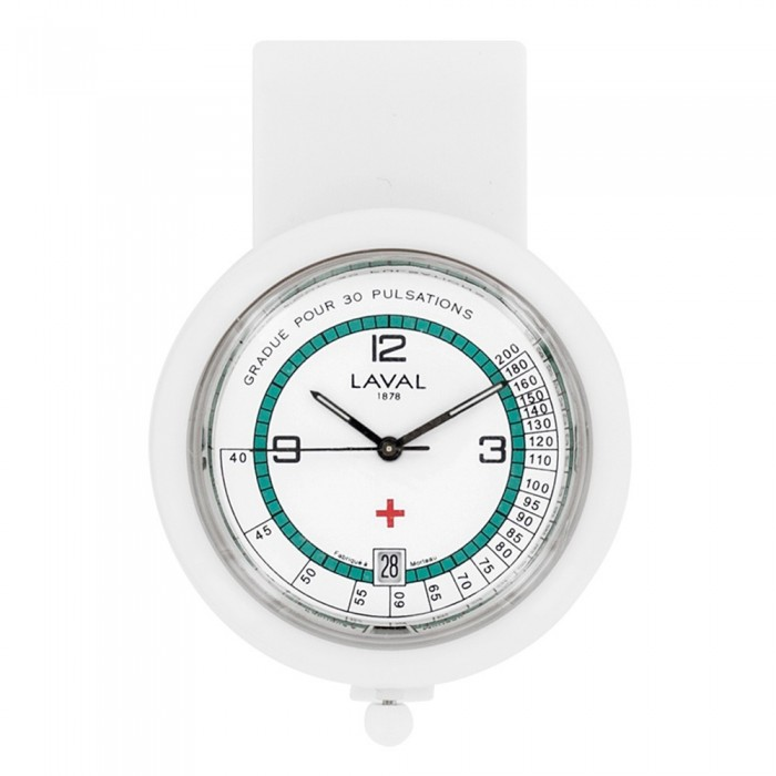 nurse watch white and green clip Laval 1878 750349 Laval 1878 59,90€