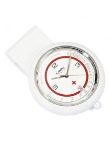 Reloj de enfermería con clip blanco y rojo Laval 1878. 750355 Laval 1878 59,90€