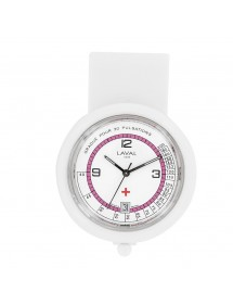 Montre infirmière à clip dato 6 H blanche et rose Laval 1878 750357 Laval 1878 59,90€