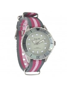 Montre élégance bracelet nylon à rayures Lady Lili - Gris et fuchsia 45,00€ 45,00€