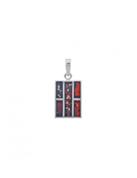 Rectangular pendant in amber and rhodium silver 31610211RH Nature d'Ambre 89,90€