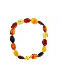 Bracelet élastique en ambre ovale multicolore Nature d'Ambre 3180543 Nature d'Ambre 23,90€