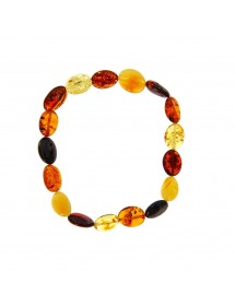 Elastic bracelet in multicolored oval amber 3180543 Nature d'Ambre 29,90 €