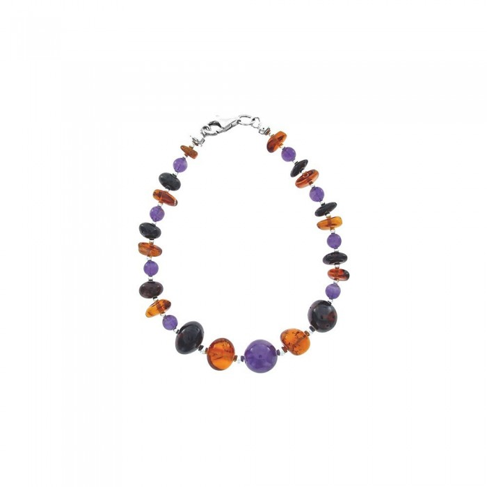 Silver bracelet with amber and amethyst of increasing size 31812235 Nature d'Ambre 54,00€