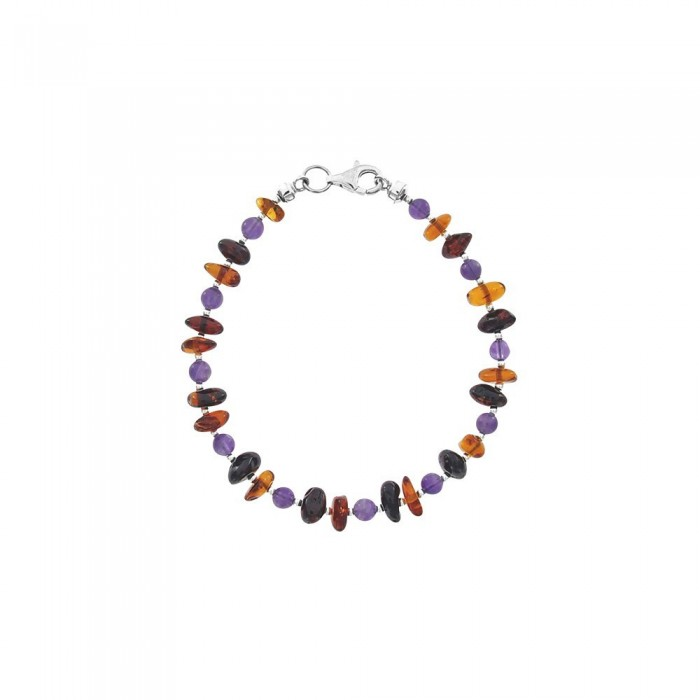 Small cognac, cherry and amethyst amber stone bracelet 31812236 Nature d'Ambre 49,90€