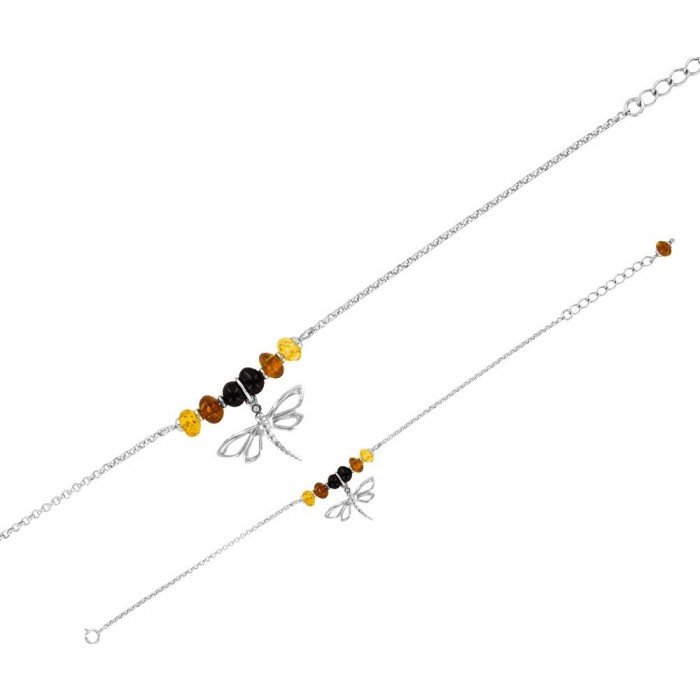 Bracelet with a silver butterfly and amber balls 3180848RH Nature d'Ambre 59,90 €