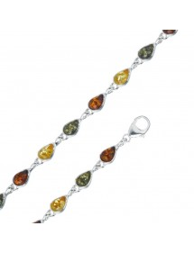 Amber and silver bracelet with small green, citrine and cognac drop stones 3180382 Nature d'Ambre 89,90 €