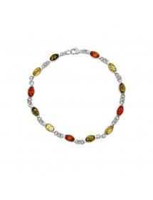 Bracelet argent et ambre avec petites pierres ovales de couleur 3180529 Nature d'Ambre 89,00€