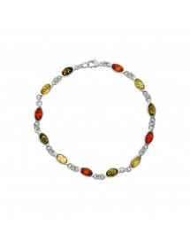 Silver and amber bracelet with small oval stones in green, cognac and citrine color 3180529 Nature d'Ambre 92,90 €