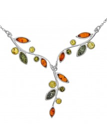 Tri-colored amber and silver necklace 135,00 € 135,00 €