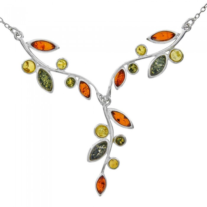 Tri-colored amber and silver necklace 135,00€ 135,00€